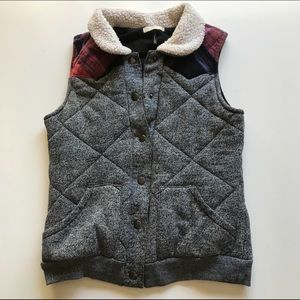 Jackets & Blazers - Quilted Vest Knit Plaid Shearling Button Up